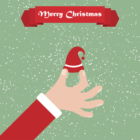 somebody: Santa hand with hat. Christmas background with greeting ribbon