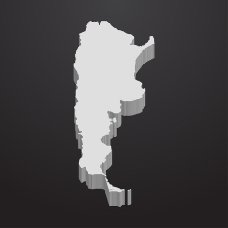 southamerica: Argentina map in gray on a black background 3d Illustration
