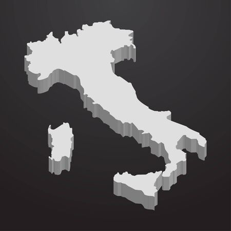 Italy map in gray on a black background 3d Illustration