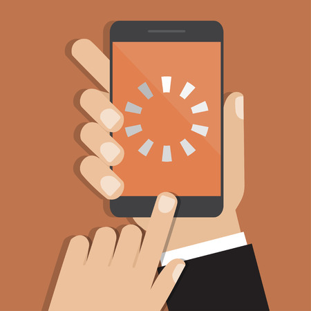 Hand holding smartphone with loading icon. Vector illustration