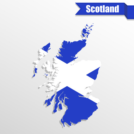 Scotland map with flag inside and ribbon Illustration