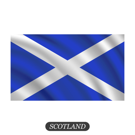 scotish: Waving Scotland flag on a white background. Vector illustration