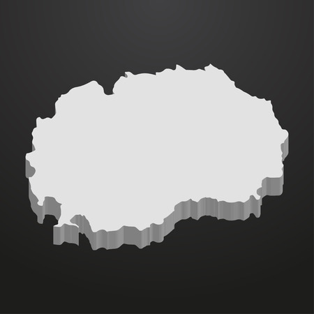 papery: Macedonia map in gray on a black background 3d Illustration