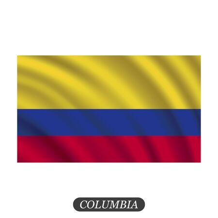 Agitant le drapeau de la Colombie sur un fond blanc. Illustration vectorielle