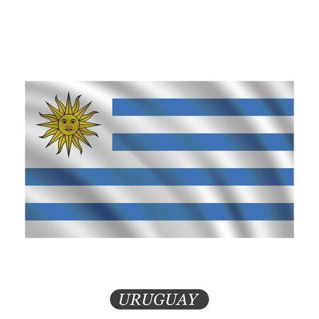 bandera uruguay: Agitando bandera Uruguay sobre un fondo blanco. ilustración vectorial