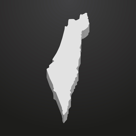 Israel map in gray on a black background 3d