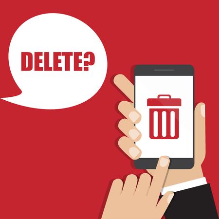 smart goals: Hand holding smartphone with trash bin icon. Delete concept Illustration