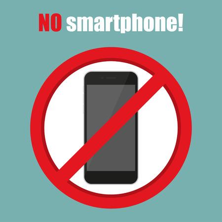 use regulation: No smartphone sign in a flat design. Vector illustration