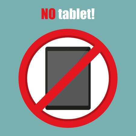 restricted area sign: No tablet sign in a flat design. Vector illustration Illustration