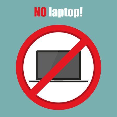 No laptop sign in a flat design. Vector illustration