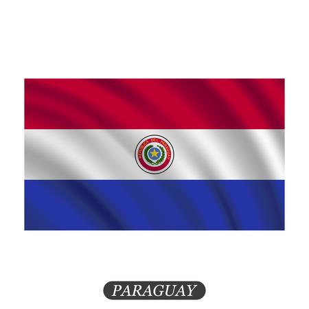 bandera de paraguay: Agitando bandera Paraguay sobre un fondo blanco. ilustración vectorial