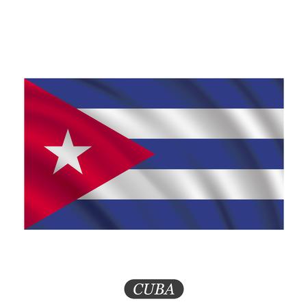 bandera de cuba: Agitando Bandera de Cuba en un fondo blanco. ilustración vectorial Vectores