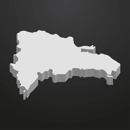 antilles: Dominican Republic map in gray on a black background 3d Illustration