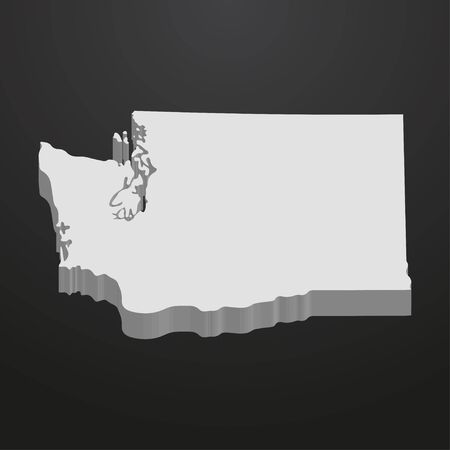 Washington State map in gray on a black background 3d