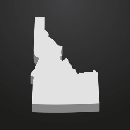papery: Idaho State map in gray on a black background 3d