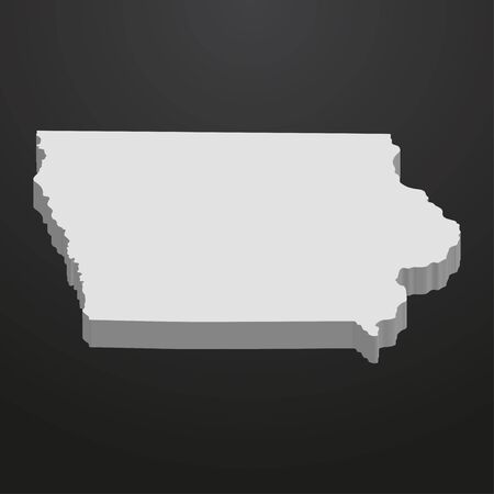 Iowa State map in gray on a black background 3d