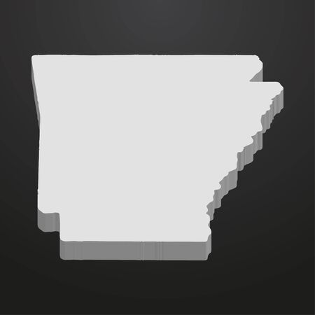 Arkansas State map in gray on a black background 3d Illustration