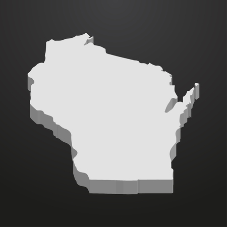 Wisconsin State map in gray on a black background 3d