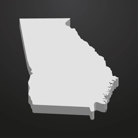 Georgia State map in gray on a black background 3d