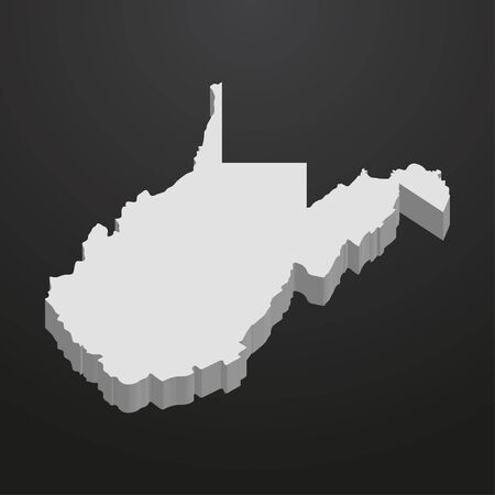 West Virginia State map in gray on a black background 3d Illustration