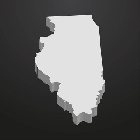 Illinois State map in gray on a black background 3d