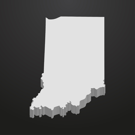 Indiana State map in gray on a black background 3d