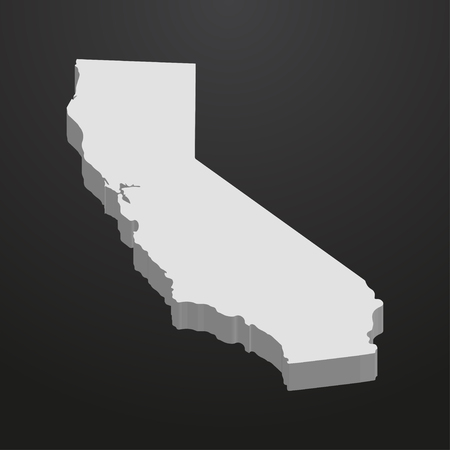 subdivisions: California State map in gray on a black background 3d Illustration