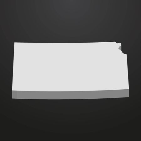 Kansas State map in gray on a black background 3d Illustration