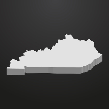 Kentucky State map in gray on a black background 3d