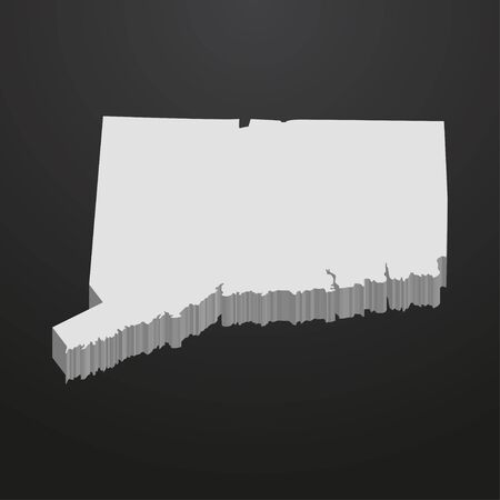 Connecticut State map in gray on a black background 3d Illustration