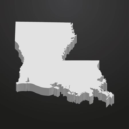 Louisiana State map in gray on a black background 3d