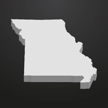 Missouri State map in gray on a black background 3d