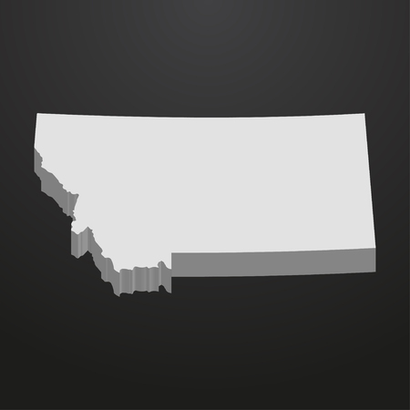 Montana State map in gray on a black background 3d