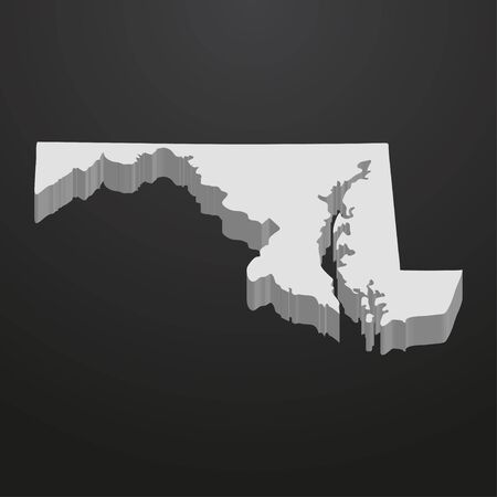 Maryland State map in gray on a black background 3d