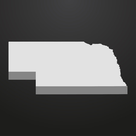 Nebraska State map in gray on a black background 3d Illustration