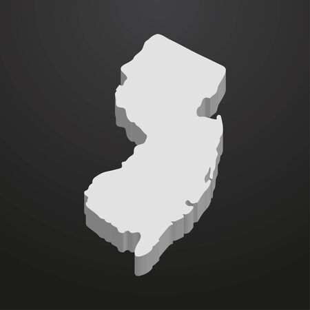 New Jersey State map in gray on a black background 3d
