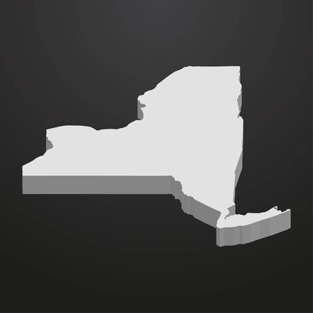New York State map in gray on a black background 3d