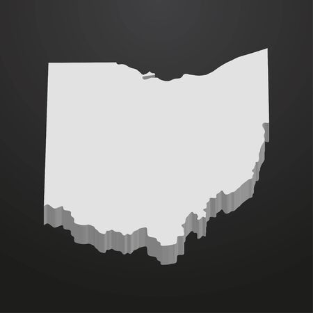 Ohio State map in gray on a black background 3d Illustration