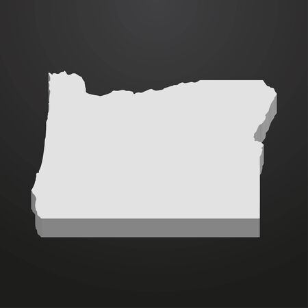 Oregon State map in gray on a black background 3d