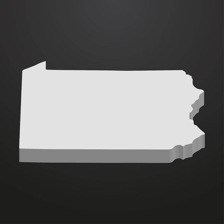 Pennsylvania State map in gray on a black background 3d