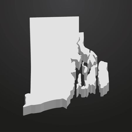 Rhode Island State map in gray on a black background 3d