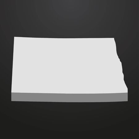 North Dakota State map in gray on a black background 3d Illustration