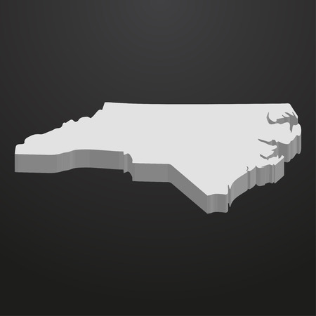 North Carolina State map in gray on a black background 3d Illustration