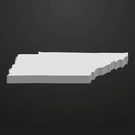 Tennessee State map in gray on a black background 3d