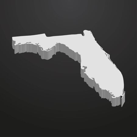 Florida State map in gray on a black background 3d Illustration