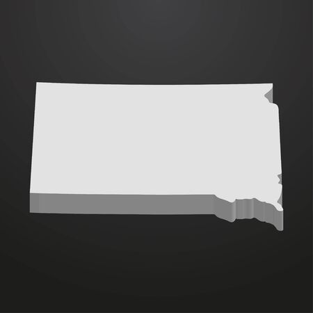 South Dakota State map in gray on a black background 3d Stock Vector - 67853645