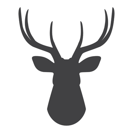 Black silhouette of deers head on a white background. Vector illustration Illustration