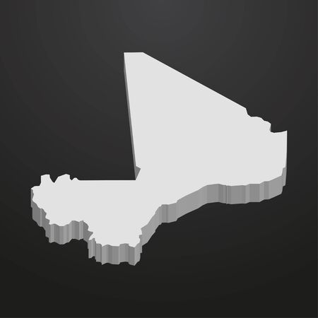 bamako: Mali map in gray on a black background 3d Illustration