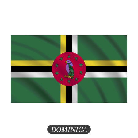 Waving Dominica flag on a white background. Vector illustration