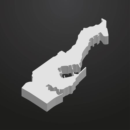 Monaco map in gray on a black background 3d